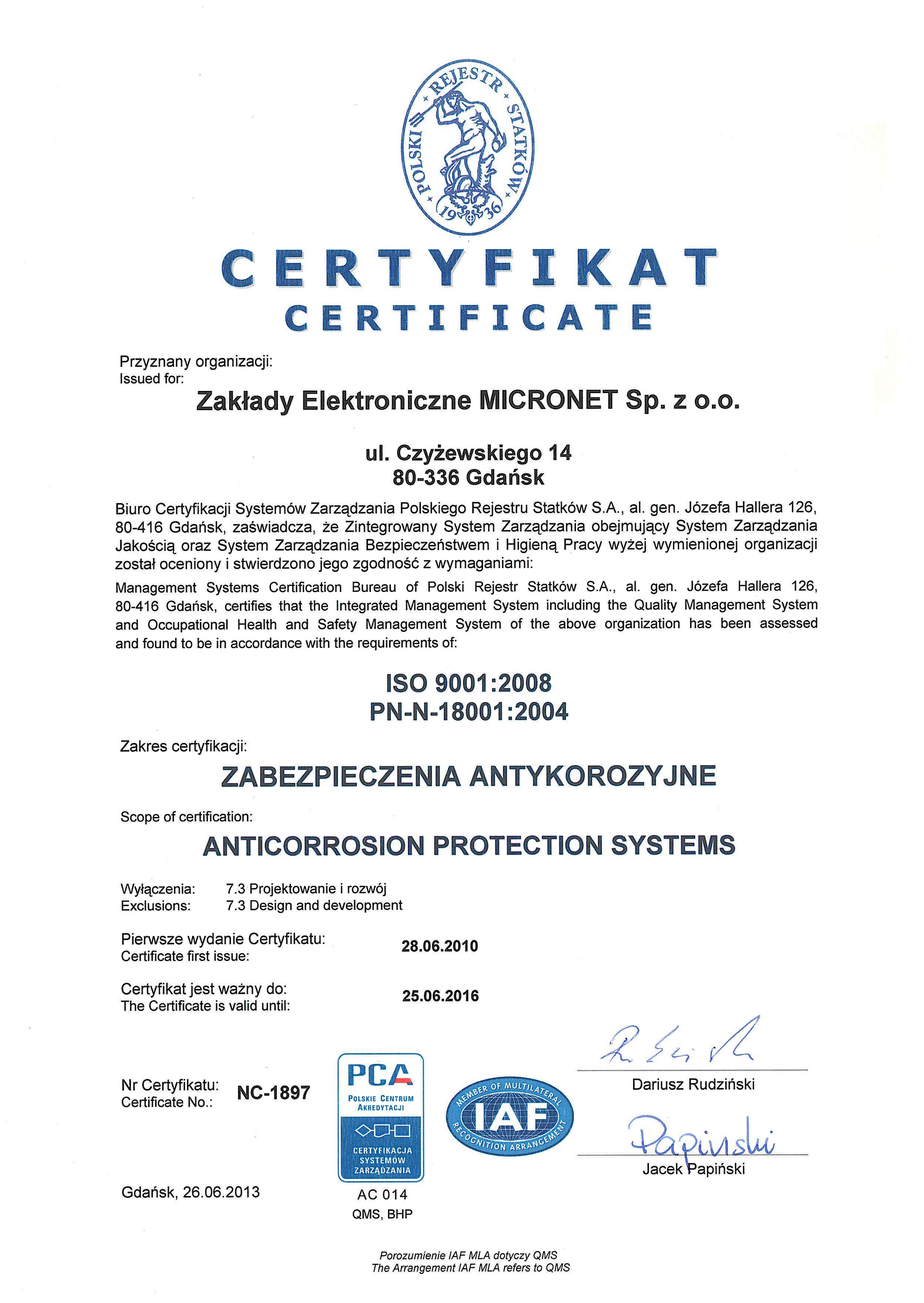 Certyfikat ISO 9001:2008 PN-N-18001:2004