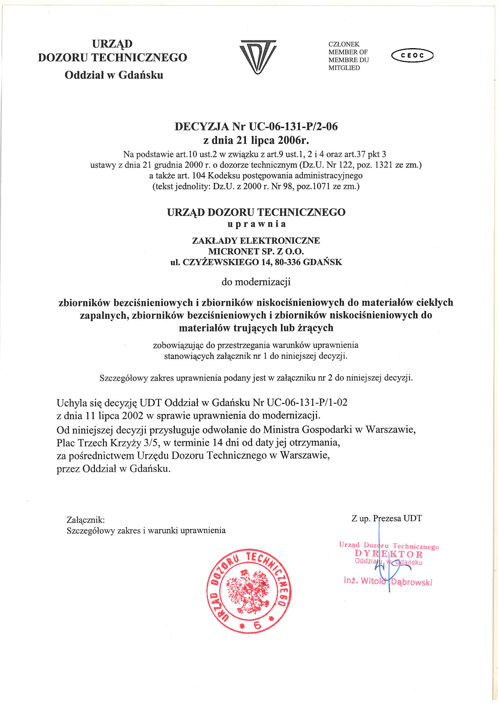 UDT Uprawnienia do modernizacji zbiorników